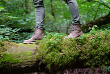 Woman's Feet In Travel Boots On A Mossy Log In The Forest. Travel Concept.