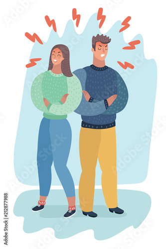 Angry couple turning their backs on each other Wall mural