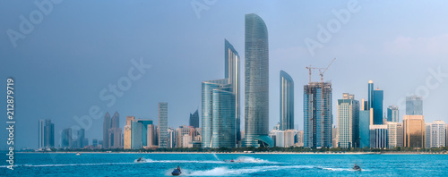 Poster Stad gebouw View of Abu Dhabi Skyline at day time, UAE