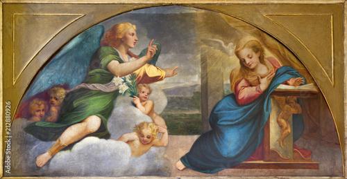 PARMA, ITALY - APRIL 16, 2018: The paintig of Annunciation in church Chiesa della Santissima Annunziata as the copy of fresco by Correggio (1520).