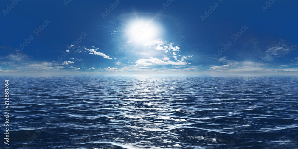 Fototapeta Meer, Sonne und wenig Wolken 360° Panorama