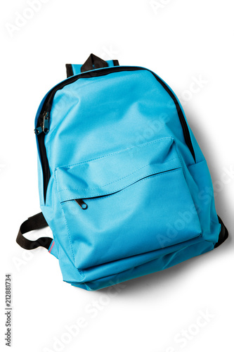 Obraz Top view of blue school backpack on white background. - fototapety do salonu
