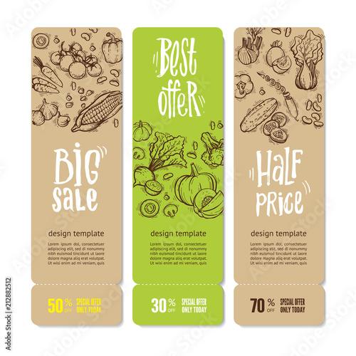 Fototapety, obrazy: Organic Market Kit Banners