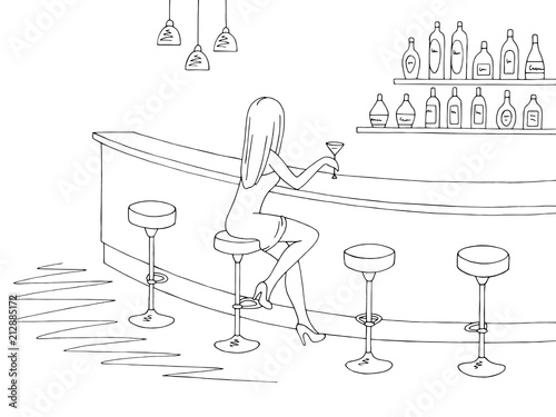 Poster Doodle Cafe bar graphic black white interior sketch illustration vector. Woman sitting on the chair