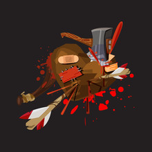 Multi Weapon Hitting On Heart And Get Injuried - Vector Illustration
