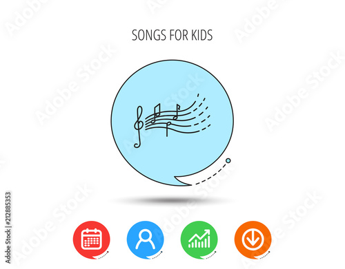 Láminas  Songs for kids icon. Musical notes, melody sign.