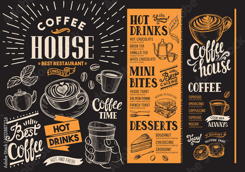 Plakaty do kawiarni coffee-restaurant-menu-beverage-flyer-for-bar-and-cafe-design-template-with-vintage-hand-drawn-food-illustrations