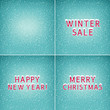 Set of Holiday Winter Backgrounds ,Snow on the Letters Winter Sale Happy New Year and Merry Christmas, Snowfall , White Snowflakes on Green Background, Vector Illustration