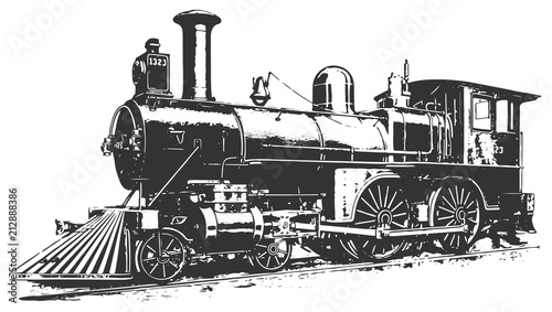 steam locomotive railway #vector #isolated - Lokomotive Lok Canvas Print