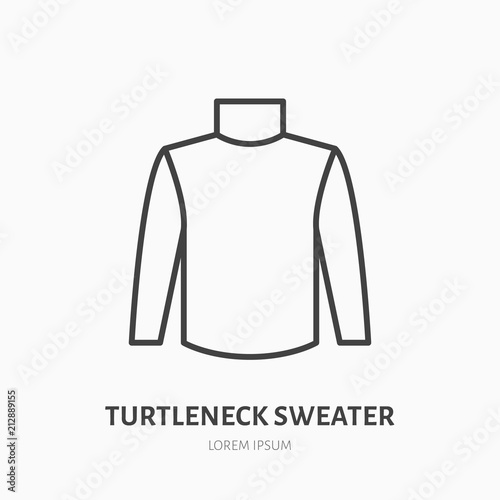 Turtleneck sweater flat line icon  Cold weather apparel