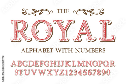 Foto  Royal alphabet with numbers in old english vintage style.