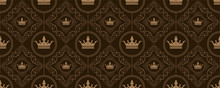 Seamless Pattern In Royal Style On Dark Background. Richly Decorated Ornament On The Background. Seamless Pattern Wallpaper. Royal Pattern Wallpaper - Vector Illustration