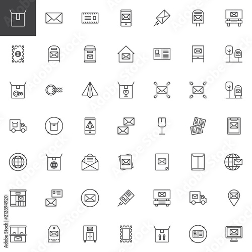 Post Outline Icons Set Linear Style Symbols Collection Line Signs Pack Vector Graphics