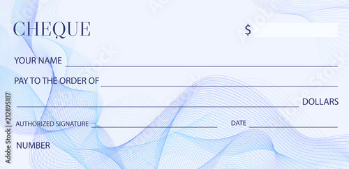 Valokuva  Cheque (Check template), Chequebook template