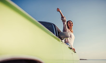 Woman With Retro Car