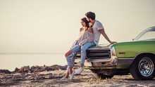 Couple With Retro Car