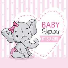 Baby Girl Arrival Card. Cute Baby Elephant.