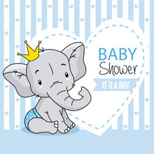 Baby Boy Arrival Card. Cute Baby Elephant.