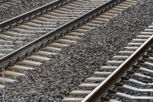 Papiers peints Voies ferrées Railroad tracks detail close up