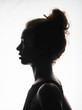 canvas print picture - frau silhouette umriß gesicht porträt portrait nase augen mundlocken haare