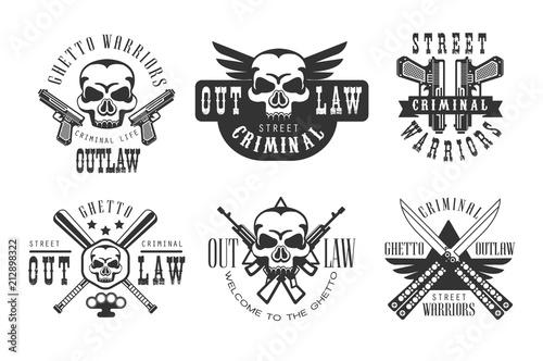 Valokuvatapetti Vector set of original emblems related to criminal life