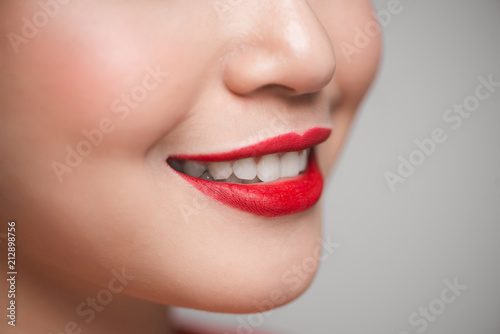 Close-up of beautiful perfect red lips. Selective focus. Poster