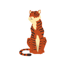 Powerful Tiger Sitting, Front View, Wild Cat, Predator Cartoon Vector Illustration On A White Background