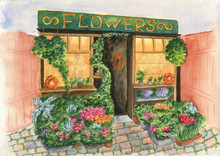 Flowers Shop Outdoor. Hand Painted Watercolor Illustration.