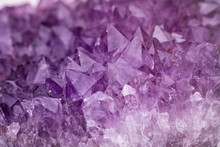 Close Up Purple Shining Amethyst Quartz Crystal Texture Abstract Background