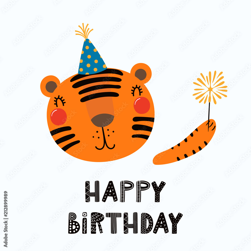 Photo Art Print Hand Drawn Birthday Card With Cute Funny Tiger In A Party Hat Sparkler Quote Happy