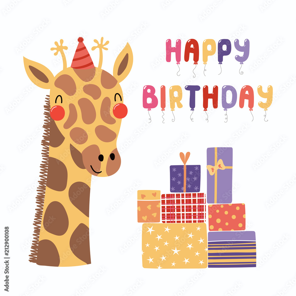 Hand Drawn Birthday Card With Cute Funny Giraffe In A Party Hat Presents Balloons Quote Happy Foto Poster Wandbilder Bei EuroPosters