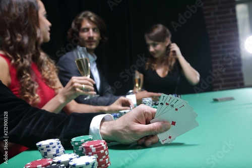 Closeup of poker hand of aces in pastel colors плакат