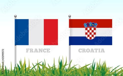 Deurstickers Wanddecoratie met eigen foto Flags of France and Croatia against the backdrop of grass football stadium.