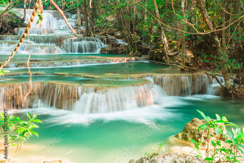 Tuinposter Watervallen beautiful waterfall in the forest, Thailand