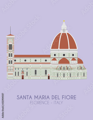 Fotografie, Obraz  Modern design poster with colorful background of Santa Maria del Fiore (Florence, Italy)