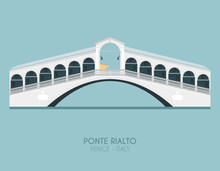 Modern Design Poster With Colorful Background Of Rialto Bridge (Venice, Italy). Vector Illustration