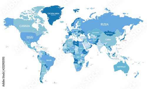Political World Map Vector Ilration With Diffe Tones Of Blue For Each Country And Names