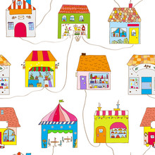 Cute Houses In The Town Seamle...
