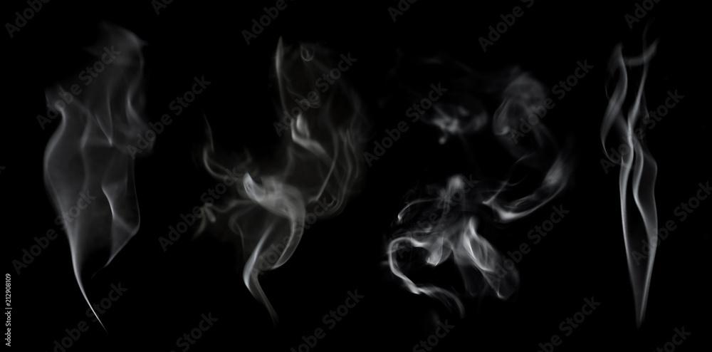 Fototapety, obrazy: White smoke on black background