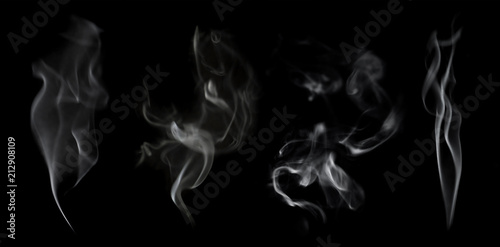 Foto op Plexiglas Rook White smoke on black background