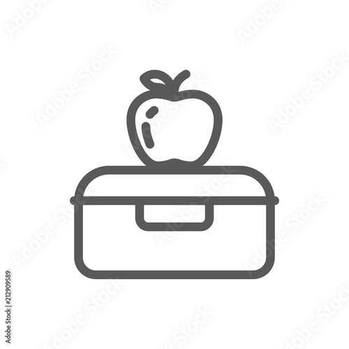 Fotografía Plastic lunch box with apple for school or work healthy break pixel perfect line icon with editable stroke