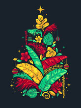 Tropical Christmas Tree Illust...