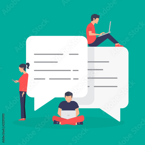 Obraz speech bubbles for comment and reply, young people using mobile, smartphone, laptop for chat, vector illustration - fototapety do salonu
