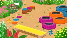 Garden Obstacle Course Illustration