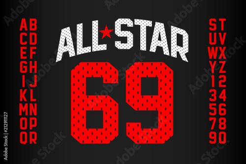 Sports uniform style font, alphabet and numbers Tableau sur Toile