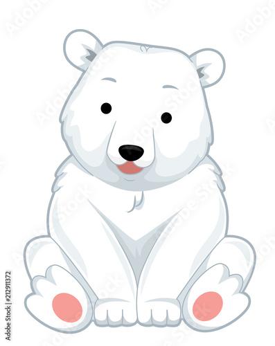 Poster de jardin Chambre bébé Polar Bear Sit Illustration