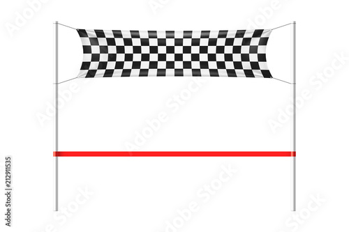 Cuadros en Lienzo Checkered finish line banner with red ribbon