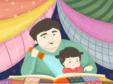 Toddler Girl Dad Story Telling...