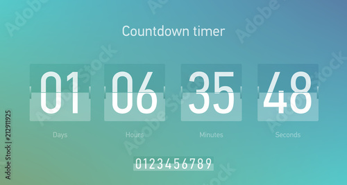 Valokuvatapetti Flip countdown clock counter timer, coming soon or under construction web site p