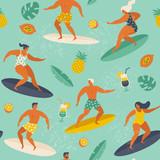 Lato plaża wzór w wektorze. Surfować ilustracja w stylu retro. - 212912748